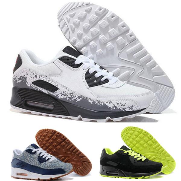 Großhandel Nike Air Max Airmax 90 Herren Turnschuhe Schuhe Klassische 90 Männer Laufschuhe Schwarz Rot Weiß Sport Trainer Kissen Oberfläche