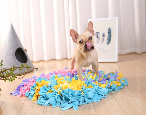Free Shipping Pet Dog Snuffle Mat Smell Training Pad Interactive Toys Polar Fleece Cloth Pet Nosework Snack Searching Training 45x45cm