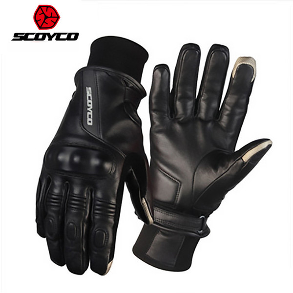 2018 Winter warm lenther SCOYCO Motorcycle Glove ,Waterproof motocross Motorbike Gloves for men black color M L XL XXL