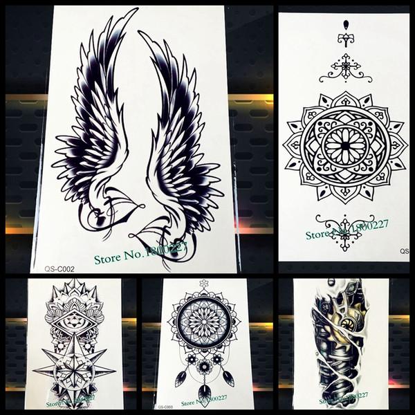 1PC Hot Large Angel Wing Tattoo Sleeve Body Back Art Temporary Tattoo Sticker Waterproof Henna Fake Arm Tatoo Wing Feather S-C51
