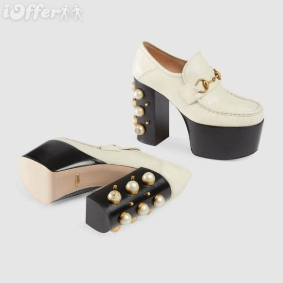 vvtisks5 METALLIC STACKED PEARL STUDDED PLATFORM WHITE LEATHER LOAFER Women Pumps Loafers Ballerina Flats Espadrilles Wedges Sneakers Boots