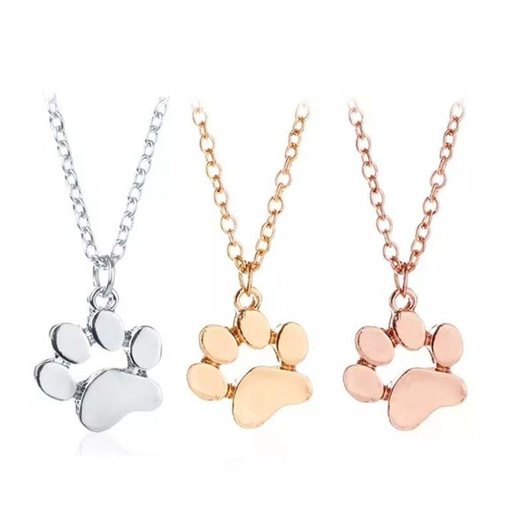 New Fashion 3 Colors Cute Delicate Pet Necklace Cat and Dog Animal Paw Print Animal Jewelery Women Pendant Choker Wholesale