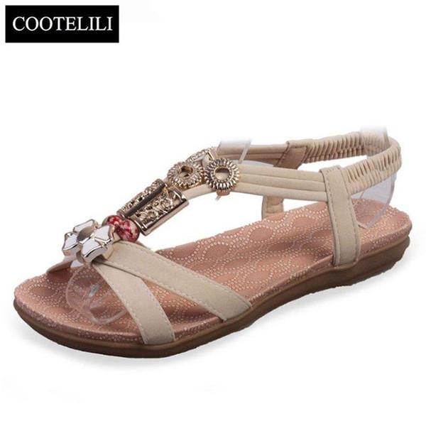 36-40 Plus Size Shoes Sandali Donna Fashion Bohemian Sleeves Sandali piatti Scarpe estive da donna Nero Beige Rosso