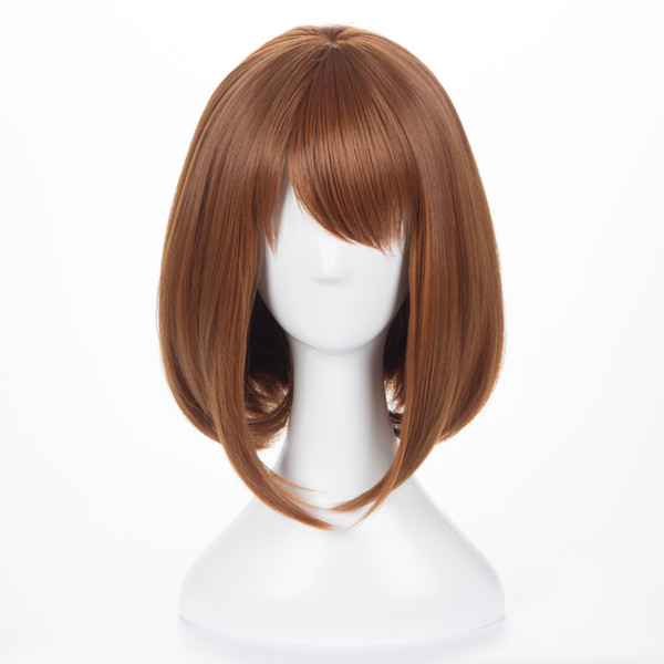 Peluca corta recta ZF Bobo pelucas cortas Peluca de pelo corto marrón claro de 12 pulgadas Ambas para cosplay My Hero Academia OCHACO URARAKA