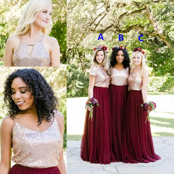 2018 Rose Gold Sequined Country Beach Bridesmaid Dresses Bohemian Burgundy Two Piece Custom Cheap Floor Length Junior Wedding Guest Gowns