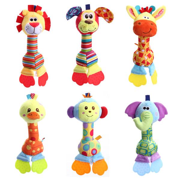 Kids Baby Toys Soft Plush Doll Animals Handbells Teether Toys for Children Newborns Stuffed Doll Baby Toy Rattles 6 Styles