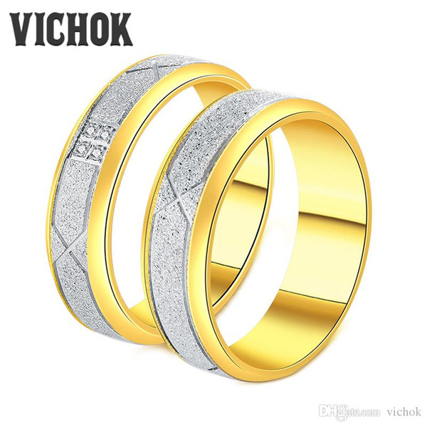 316 L Stainless Steel Couple Rings Middle Scrub Both Sides Slide For Lover Women4mm & Men6mm Statement Rings Fine Jewelry VICHOK
