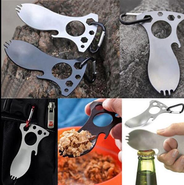 EDC Pocket Spoon Fourchette Clé Ouvre-bouteille Mousqueton Kit Camping Outil De Randonnée En Plein Air Camping Vaisselle Portable Spoon KKA4235