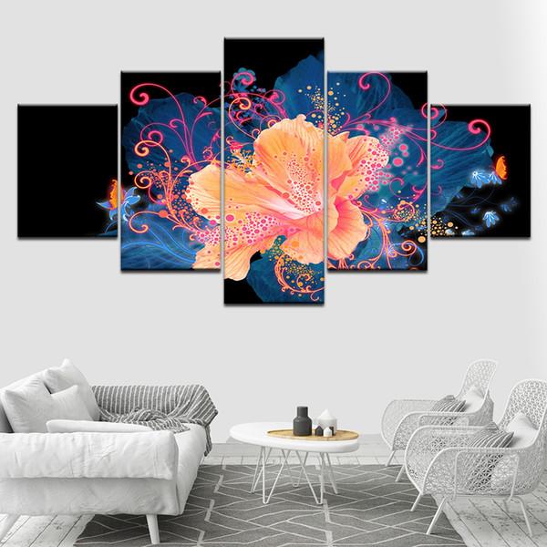 Compre Marco 5 Paneles Set Cuadros Modulares Cuadros Decoración Flores Lienzo Impreso Imágenes Para La Sala De Estar Decoración Del Hogar Arte De La