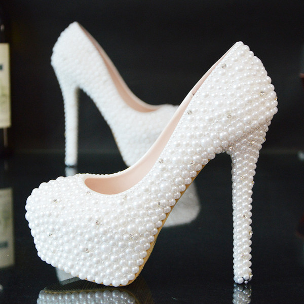 Glitter Wedding Shoes 2018 Pearls Beads Pumps High Heels Bridal Shoes 5cm 8cm 11cm 14cm Bling Bling Prom Shoes for Lady