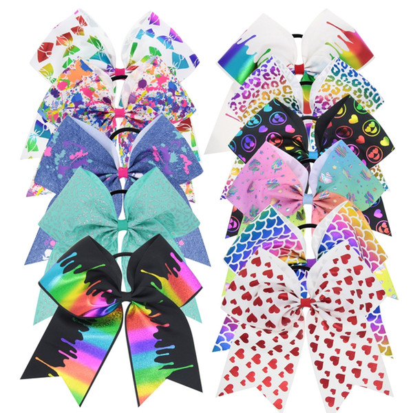 7 pulgadas Jojo Cheer Arcos de pelo Unicorn Cheer Bow Jojo Estilo Paint Drips Prints Grosgrain Hairbands Sirena holográfica Pastel Unicorn Hairbows