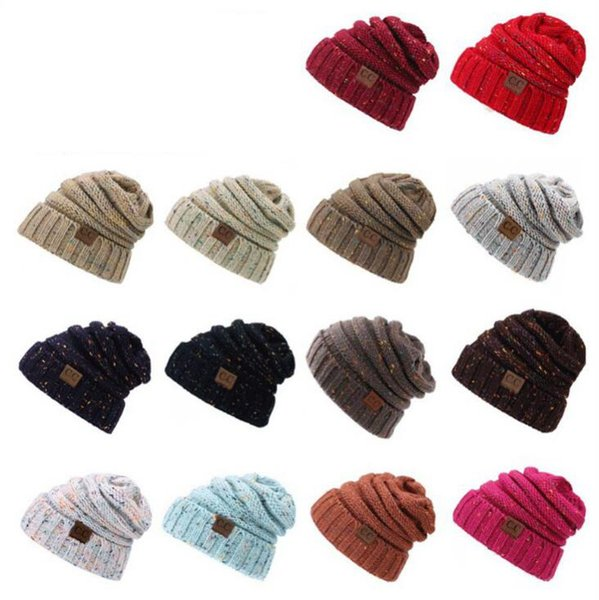 Compre Cc Knitted Beanie Hat es Mujeres Crochet Knit Cap Invierno ...