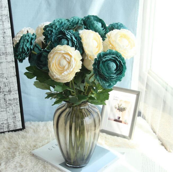 4 Bunches Blooming Tea Rose Display Flowers Fake Flowers Hydrangeas Colors Elegant Gifts for Wedding Centerpieces Home Party Dinning Restaur
