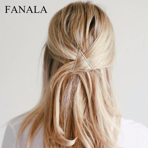 BACIO IN METALLO IN METALLO Fashion Girls 'Gold / Accessori Donna Clips Colour Triangle Hair Vintage WIFE Hairpin Hair