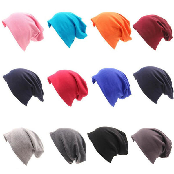 Winter Beanies Autumn Gorros 20 Color Womens Beanie Hat Women Cotton Solid High Cost Performance Casual Multifunctional Skullies Y18102210