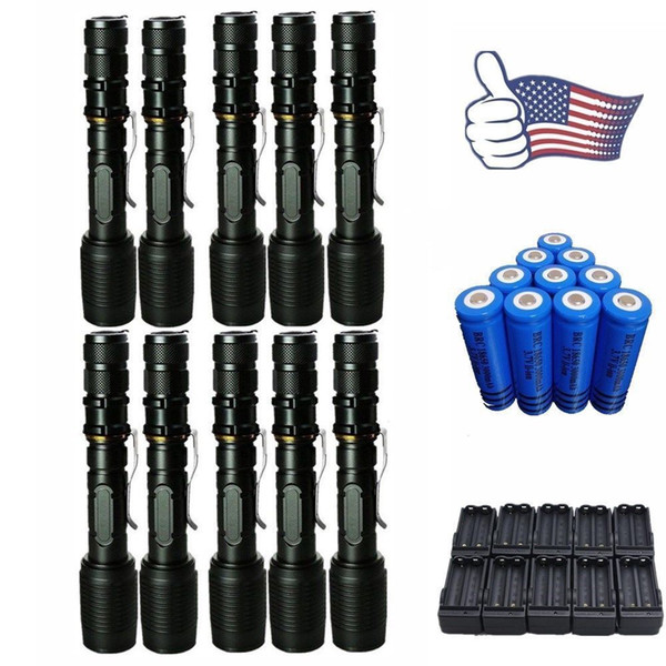 10x 8000LM Flashlight Tactical Super Bright T6 LED Torch Cree XM-L Rechargeable Torch Zoomable + 18650 Battery + Charger