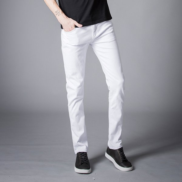 2018 Spring New men Jeans Black/White Classic Fashion Designer Denim Skinny Jeans men's casual High Quality Slim Fit Trousers