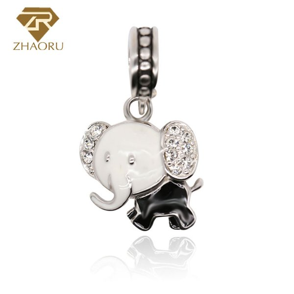 925 Sterling Silver Charm with Elephant Enamal Charm Fit Bracelet & Bangle And Necklace P2013