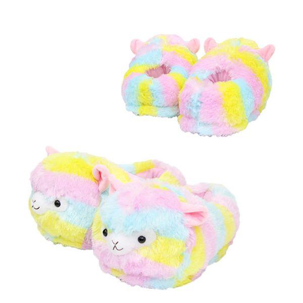 28cm Llama Arpakasso Plush Slippers Girls Rainbow Alpaca Full heel Soft Warm Household Winter flip flop for big children Home Shoes AAA1005