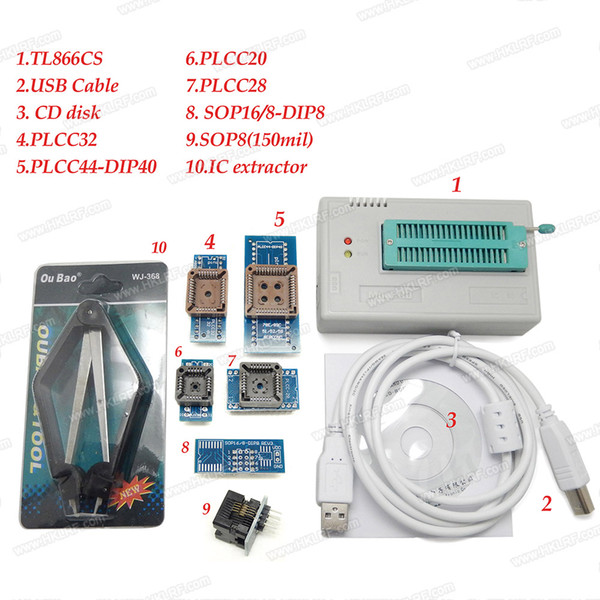 V6.6 original del 100% Nueva MiniPro TL866CS programador 7 adaptadores de enchufe de alta velocidad USB EPROM EEPROM flash de alto rendimiento para 1300