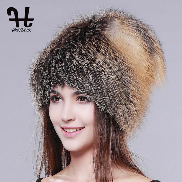 FURTALK cappello di pelliccia di inverno delle donne genuini cappelli di pelliccia di volpe maglia di berretti di volpe d'argento femminile di lusso russo cappello di moda per le donne
