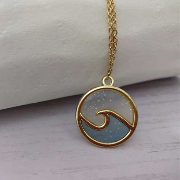Hot Selling Cute Wave Necklace Jewelry Geometric Wave/Flame Karma Round Personality Necklace.Gold Plated Women Necklace Gift Idea