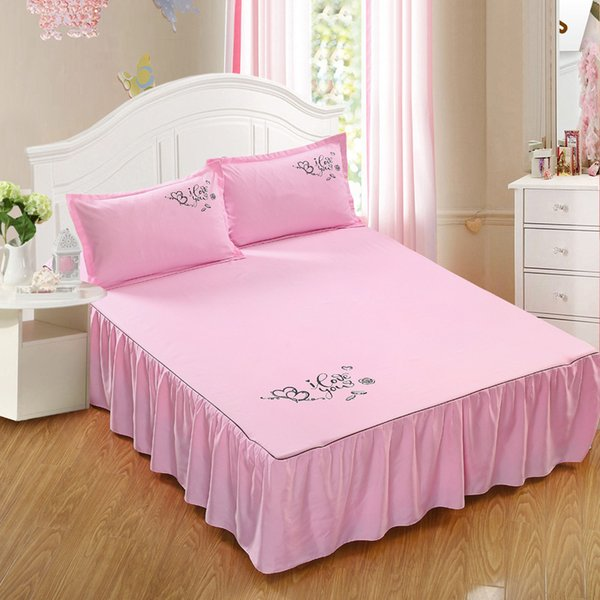 buy sale better best shoes Pink Polyester Cotton Bed Skirts Dorm ST39 Mattress Protector Print I Love  U Sheets Bedspread Bedding Covers For Home Hotel Detachable Bedskirt ...