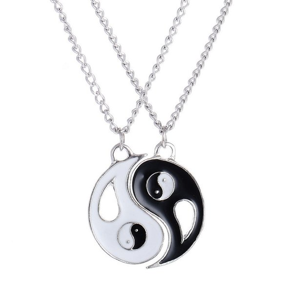 Best Friend Necklace 2 pcs/set Fantastic Ying Yang Charm Pendant Necklaces Women Men Jewelry for Lovers colar masculino Couples Necklaces