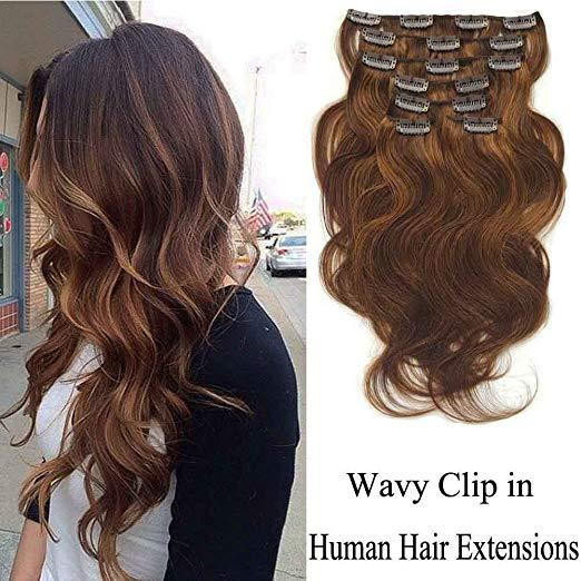 Balayage brown Color Virgin Human Hair Clip In Hair Extensions 7 Pieces #P4/8 medium brown mix lisht brown wavy