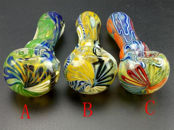 Colored Glass Hand Pipe Smoking Oil Burner Glass Pipes Glass Spoon Pipe Mini Dab Rigs Small Hand Pipes For Tobacco