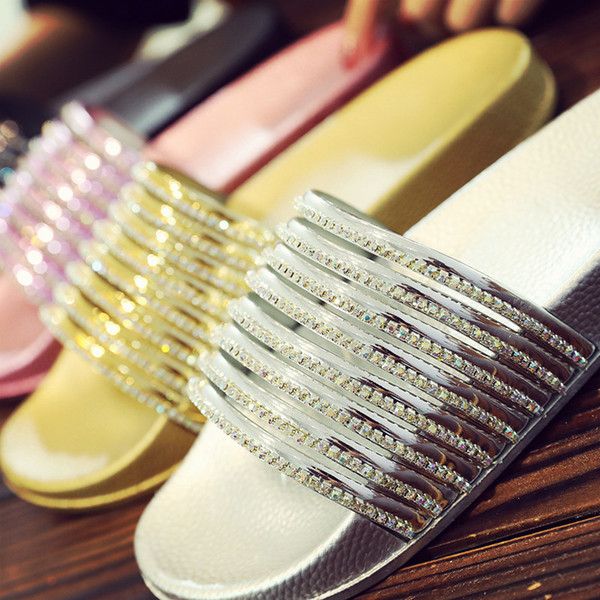 Luxury Rhinestones Sandals Fashion Glossy Summer Bling Scuffs For Lady Women Casual Slippers Home Outdoor Sandals