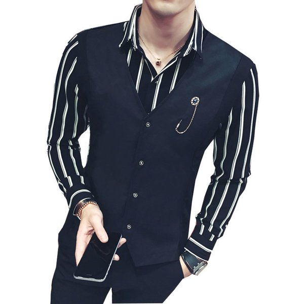 Striped Shirt Men Long Sleeve Fake 2 Piece Shirt 2017 New Autumn Winter 4xl 5xl Slim Fit Black White Stripe Men Dress