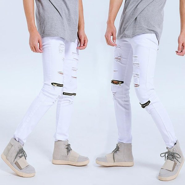 Gd Ripped Jeans Men Distressed Holes Zipper Pencil Pants Biker Jeans Fashion Trousers fashion New style