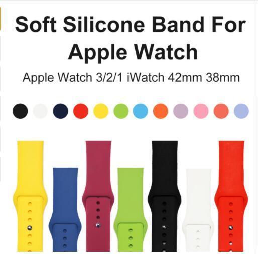 Morbido cinturino sportivo sostitutivo in silicone per Apple Watch Series 1/2/3 42mm 38mm Cinturino da polso cinturino per iWatch Sportsbands