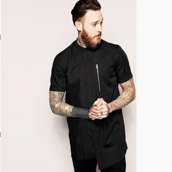 S-6XL printemps et en été chemise à manches courtes occasionnels hommes noir chemise à glissière asymétrique de cheveux styliste personnalité costumes de chanteur
