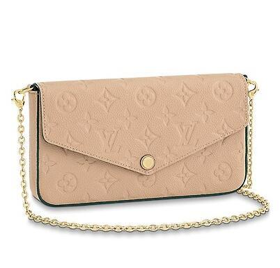2019 M62299 POCHETTE FÉLICIE Embossing beige Real Caviar Lambskin Chain Flap Bag LONG CHAIN WALLETS KEY CARD HOLDERS PURSE CLUTCHES EVENING