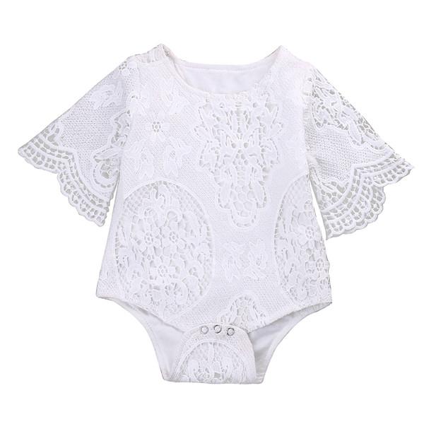 Pudcoco Bodysuits Bebê Uma peça de Verão Do Bebê Recém-nascido Menina Rendas Floral Bodysuit Manga Curta
