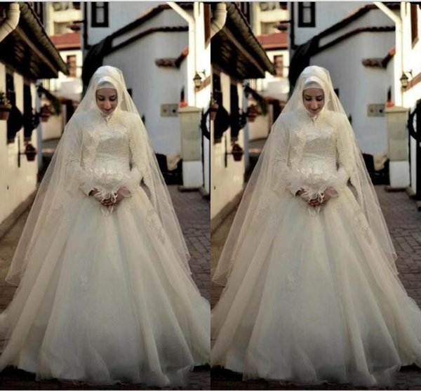 Ivory Saudi Arabic Muslim Wedding Dresses Long Sleeves Lace Bridal Gowns A Line High Collar Zip Back Floor Length Tulle Wedding Gowns