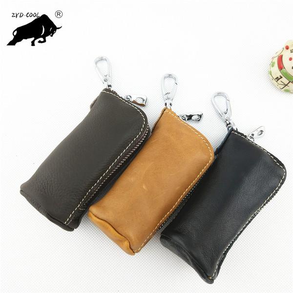 Handbag Genuine Leather Case For Key Coin Bag Zipper Real Leather Purse Card ID Money Celular Mobile Pocket Universal Pouch Case