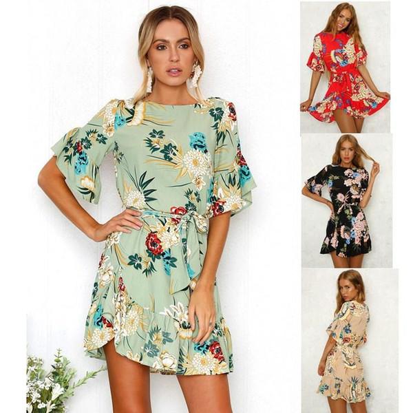 6fdb3f1069 SHEIN Ruffle Cuff Floral Print Smock Dress Women Round Neck Flounce Sleeve  High Waist Short Dress