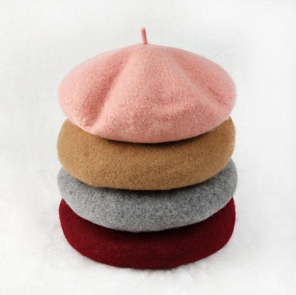 10 Colors Fashion Pure Wool Beret Keep Warm For Women Kids Winter Hat Ear Muff Cap 30pcs NNA321
