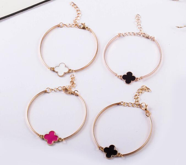 Lucky Four Leaf Clover Bracelets Bangle Love Charm Rose Gold Hand Chain Cuff Bracelet Jewelry For Men Women Couple Valentine's Girls