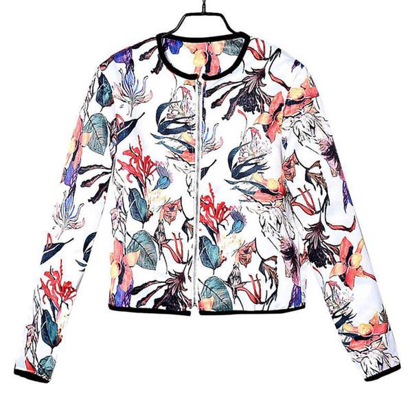 Compre Otoño Outwear Moda Retro Cremallera Floral Hasta Chaqueta De ...