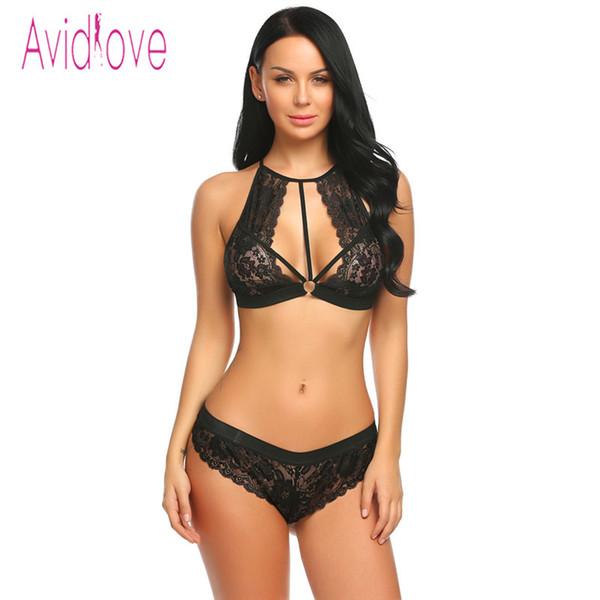 Avidlove Sexy Floral Lace Lingerie Conjunto Mulheres Sutiã Top e Tangas Briefs Two Piece Terno Feminino Calcinhas Sex Underwear T-string S18101509
