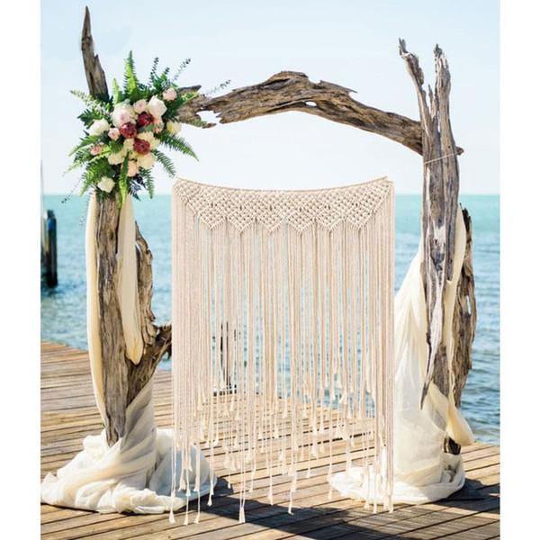 2018 Wedding Backdrop Curtain Wall Hanging Boho Wedding Hanger Cotton Handmade Wall Art Home Wall Decor