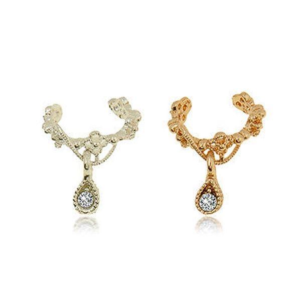 10pc Elegant Women Crystal Rhinestone Water Drop Pendant Ear Cuff Wrap Clip Cartilage Earrings Silver Gold Faux Piercing Jewelry