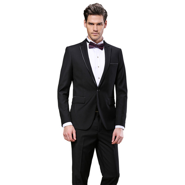 Latest Design Black Men Suits One Button 2 Pieces(Jacket+Pant) Notched Collar Custom Made for Wedding Dinner Party Tuxedos