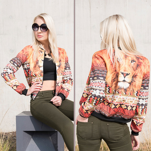 Women Bomber Jacket Aztec Peru Lion 3D Full Print Girl Free Size Stretchy Casual Short Coat Lady Long Sleeves Graphic Outerwear (GL36058)