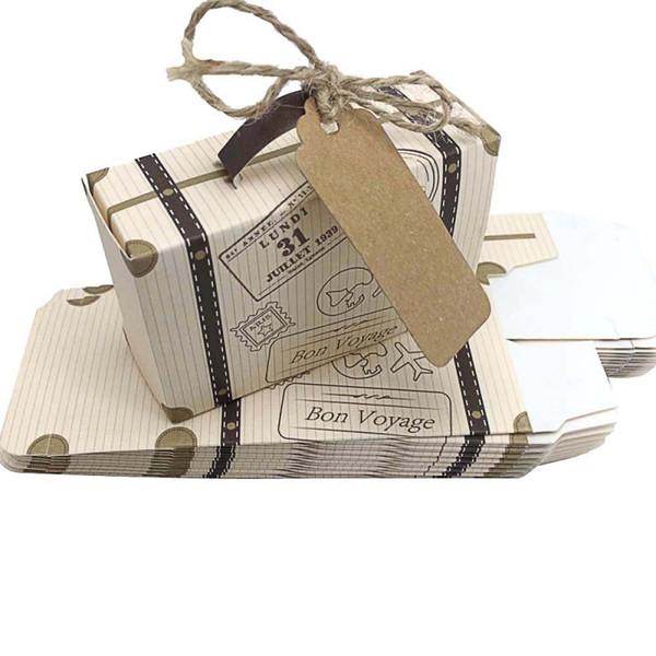 Творческий мини чемодан конфеты коробка конфеты упаковка коробка свадебный подарок коробка событие поставки партии свадебные сувениры с карты