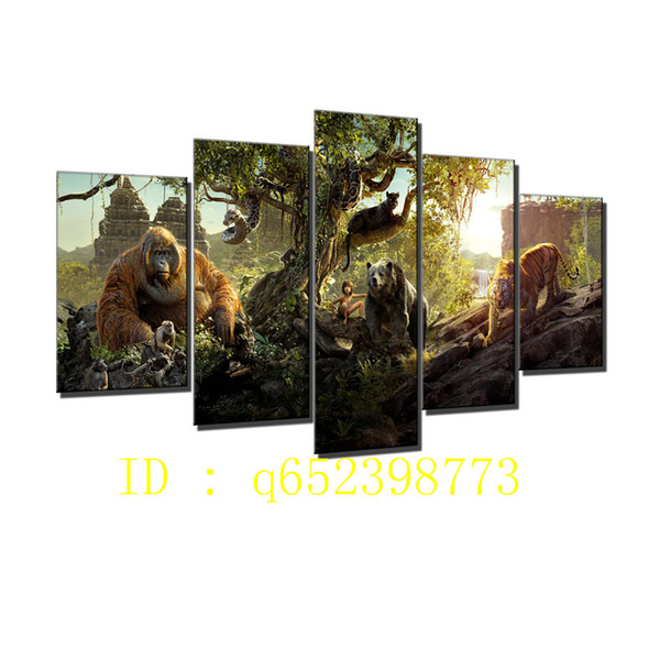 jungle book 5 Pieces HD Canvas Printing New Home Decoration Art Painting/ Unframed / Framed